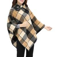 QZUnique Plaid Wrap Shawl Cape Horn Button Collar Pullover Cloak Tops