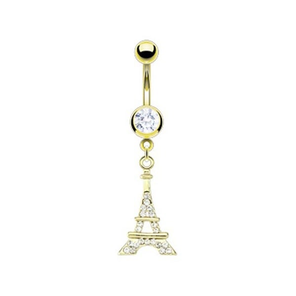 Gold Plated Surgical Stainless Steel Multi Pave Gem Eiffel Tower Navel Belly Button Ring