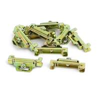 10 Pcs 35mm Width DIN Guide Rail Buckle Fixed Clamp Bronze Tone 44mmx8mmx22mm