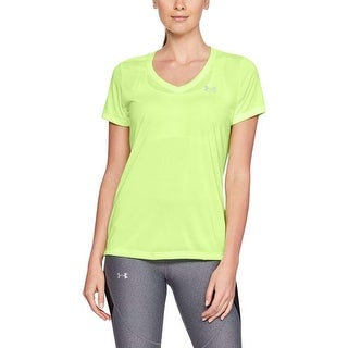 Under Armour Women's Tech V-Neck Twist, Lime Fizz (291)/Metallic Silver, Large
