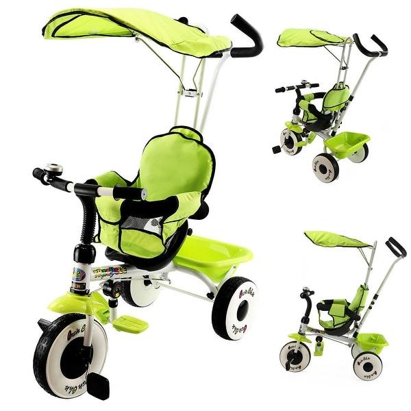 Costway 4-In-1 Kids Baby Stroller Tricycle Training Learning Toy Bike w/ Canopy Basket