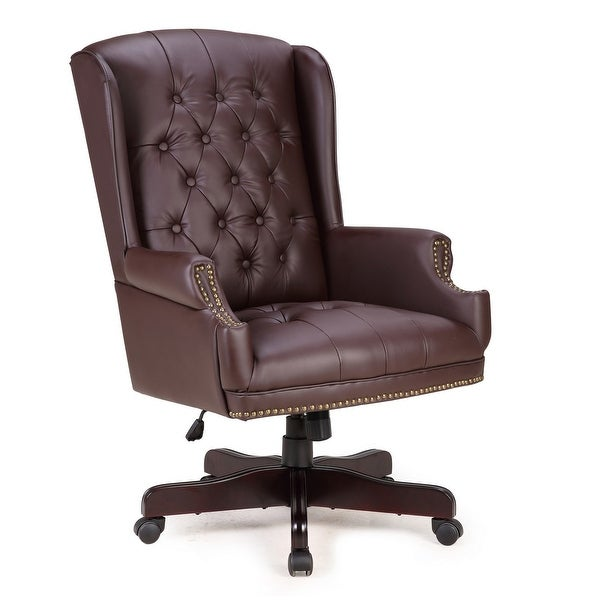 shop belleze traditional executive wingback office desk chair button tufted styling with faux. Black Bedroom Furniture Sets. Home Design Ideas
