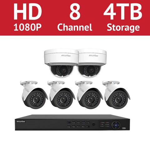 LaView 8 Channel 1080p IP NVR with (4) 1080p Bullet Cameras and (2) 1080p Dome Cameras and a 4TB HDD