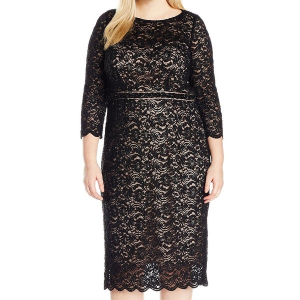 6d0cbf36c31 Alex Evenings NEW Black Womens Size 24W Plus Shimmer Lace Sheath Dress