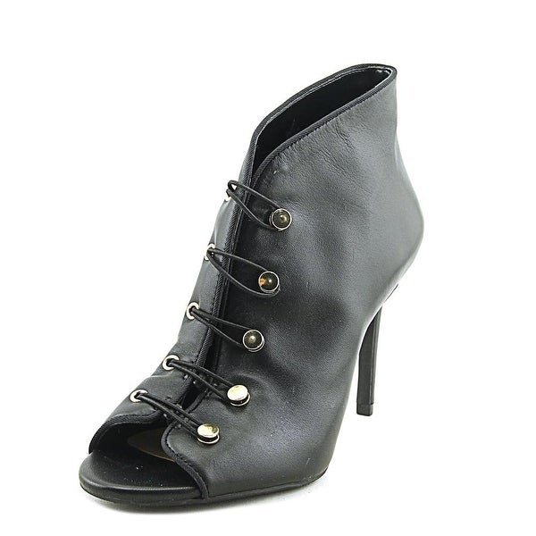 Enzo Angiolini Franses Women Open-Toe Leather Black Ankle Boot