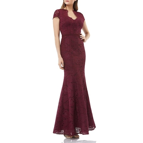 JS Collections Womens Evening Dress Scalloped Lace