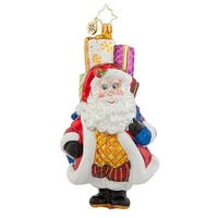 Christopher Radko Glass Chubby Claus Delivery Santa Christmas Ornament #1017942 - multi