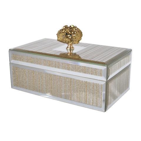 A&B Home Sullivan Striped Silver and Gold Mirrored Decorative Box