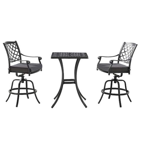 OVE Decors Franklin 3-Piece Bistro Set in Black and Charcoal