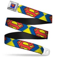 Superman Full Color Blue Jagged Superman Shield Close Up Yellow Blue Red Seatbelt Belt