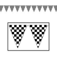 Club Pack of 12 Black and White Checkered Pennant Banner Hanging Decorations 12'