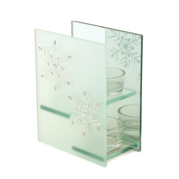 """6"""" Frosted Glass Glittered Snowflake Design Mirrored Votive Candle Holder"""