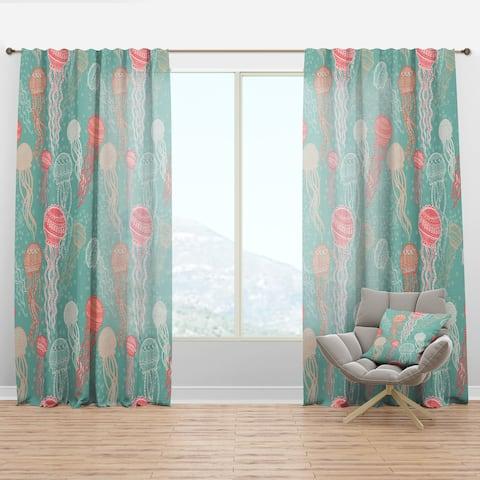 Designart 'Jellyfish Pattern' Nautical & Coastal Curtain Panel