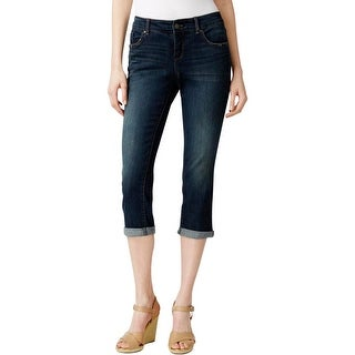 Vintage America Womens Boho Capri Jeans Denim Distressed