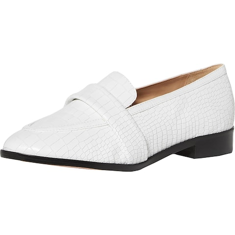 Schutz Womens Romina Loafers Leather Slip On - White Croco - 8 Medium (B,M)