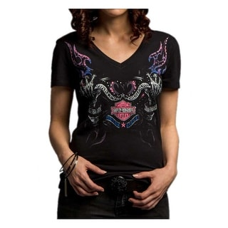 Harley-Davidson Women's Out of the Flames Short Sleeve Stretch Tee 5E35-HC9W (Option: L)