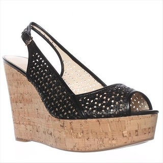 Nine West Axey Wedge Pumps, Black Leather