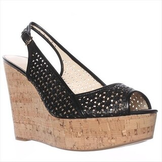 Nine West Axey Wedge Pumps - Black Leather