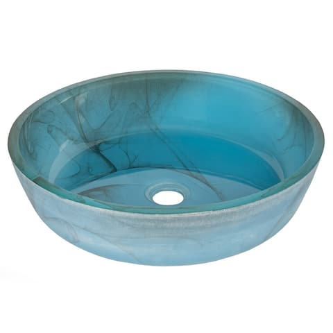 Eden Bath Blue Mist Flat Bottom Glass Vessel Sink