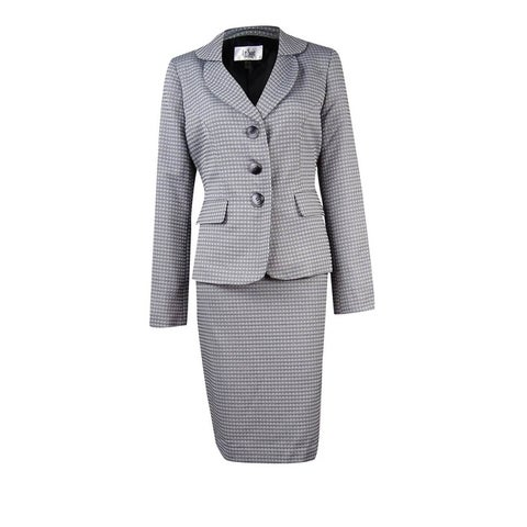 Le Suit Women's Petite Circle Printed Textured Skirt Suit - Black Multi