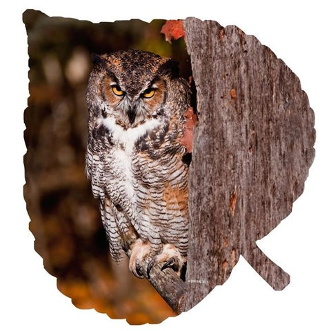Next Innovations 101421001-OWL Owl on Medium Aspen Leaf Metal Wall Art