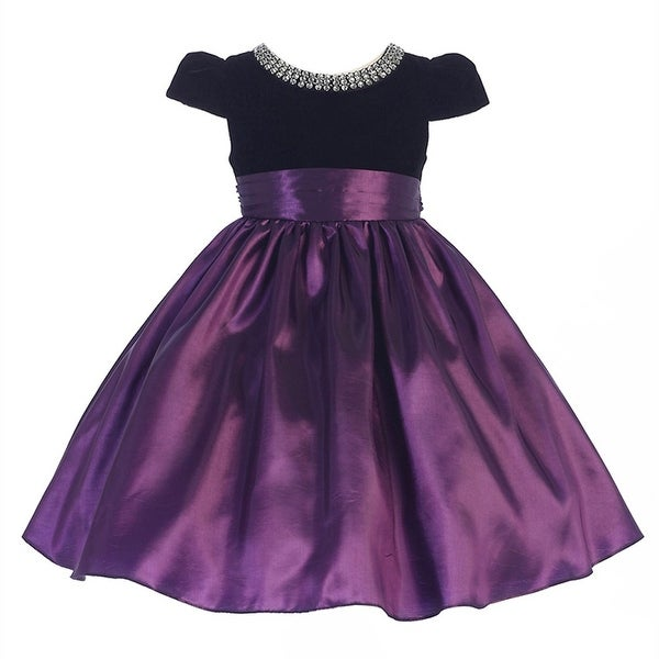 9563e5912ed9 Shop Crayon Kids Little Girls Purple Black Glitter Neckline Occasion ...