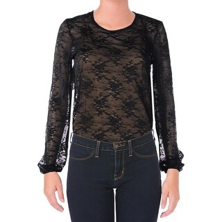Aqua Womens Lace Overlay Long Sleeves Bodysuit