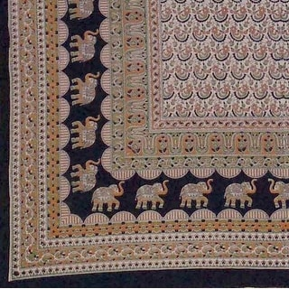 Handmade 100% Cotton Mandala Elephant Tapestry Tablecloth Coverlet Twin Earthy
