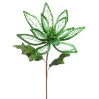 "24"" Christmas Brites Green Linear Sheer Poinsettia Flower Spray"