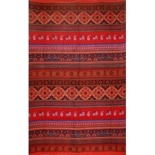 Handmade 100% Cotton Kalamkari Tie Dye Tapestry Bedspread Tablecloth Queen Red