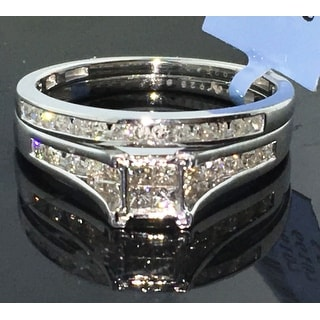 1.25ct w Diamond Trio Wedding Ring Set His and Her Princess Cut Limited Supply By MidwestJewellery - White I-J