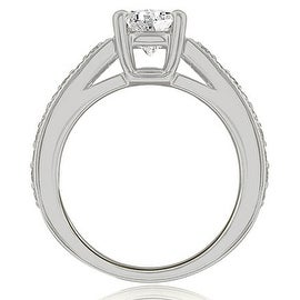 0.75 cttw. 14K White Gold Antique Cathedral Round Diamond Engagement Ring