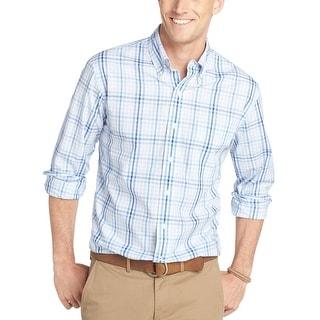 Izod Lightweight Poplin Checkered Shirt Blue Revival Small
