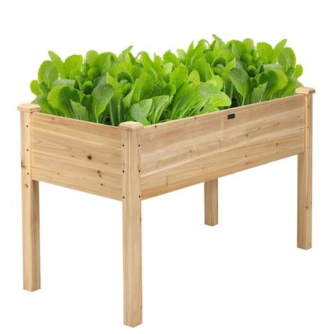 Costway Wooden Raised Vegetable Garden Bed Elevated Grow Vegetable - 49.5 x 23.5 x 30