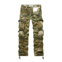 Men's Mid Rise Zip Up Button Closure Camouflage Print Cargo Pants w Belt (Size M / W34)