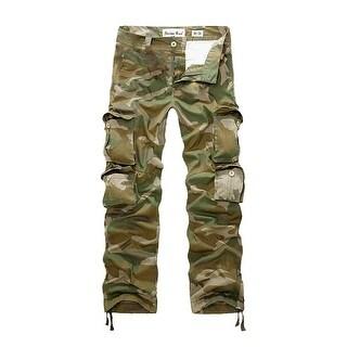 Men's Mid Rise Zip Up Button Closure Camouflage Print Cargo Pants w Belt (Size M / W34)