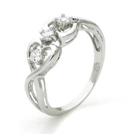 Sterling Silver Twisted Promise Heart Infinity Knot Cubic Zirconia Ring