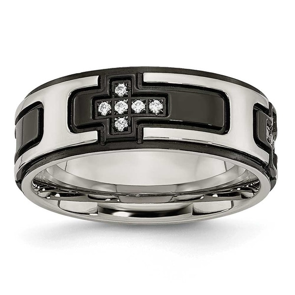 Chisel Stainless Steel Polished Black IP-plated with CZ Cross Band (8 mm)