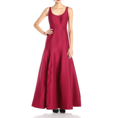 HALSTON HERITAGE Women's Gown Garnet Red Size 14 Scoop Neck Tulip