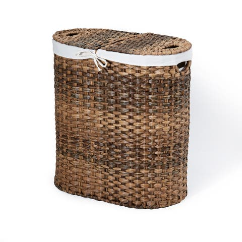 Seville Classics Handwoven Oval Double Laundry Hamper with Liner