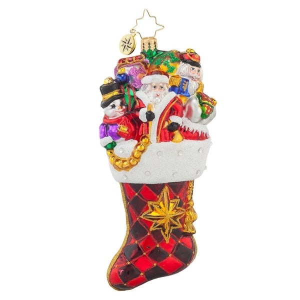 Christopher Radko Glass Stocked with Joy Christmas Stocking Ornament #1017651 - RED