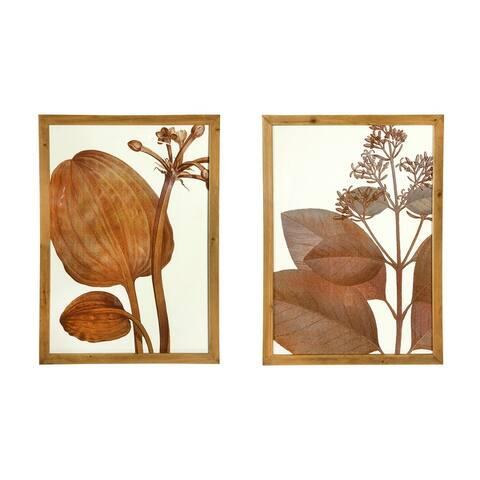 Botanical Wood Framed Wall Decor (Set of 2 Styles) - Rust