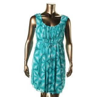 Calvin Klein Womens Printed Pleated Casual Dress