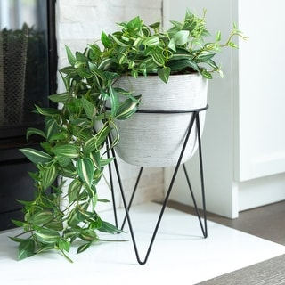"Link to Mid-Century Concrete 12.5"" Tall Grey Cement Planter in Black Metal Stand Similar Items in Planters, Hangers & Stands"