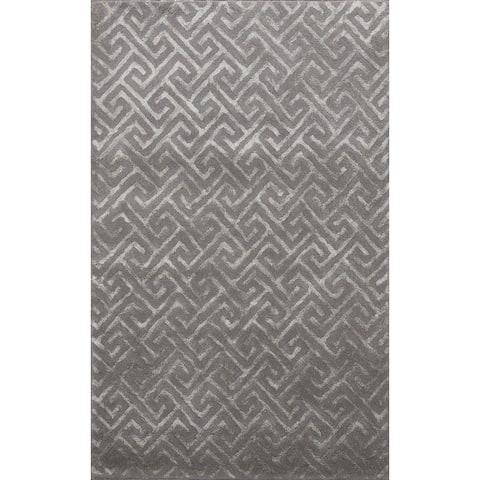 "Modern Trellis Wool/ Silk Oriental Area Rug Hand-Tufted Foyer Carpet - 4'0"" x 6'0"""