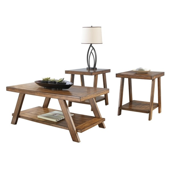 Shop Ashley Furniture T392 13 Bradley Burnished Brown Table W/ Replicated  Plank Tabletop   Set Of 3   Free Shipping Today   Overstock   16344559