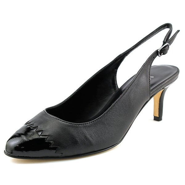 Vaneli Liddy Pointed Toe Leather Slingback Heel