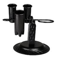 Black Steel Blow Dryer Curling/Flat Iron Holder with Power Strip