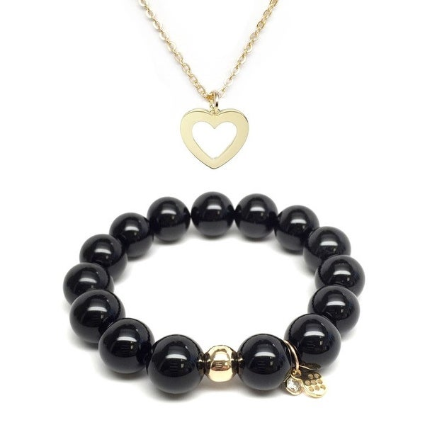 Black Onyx Bracelet & Heart Gold Charm Necklace Set