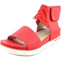 Eileen Fisher Spree-WS Women  Open Toe Leather Red Wedge Sandal